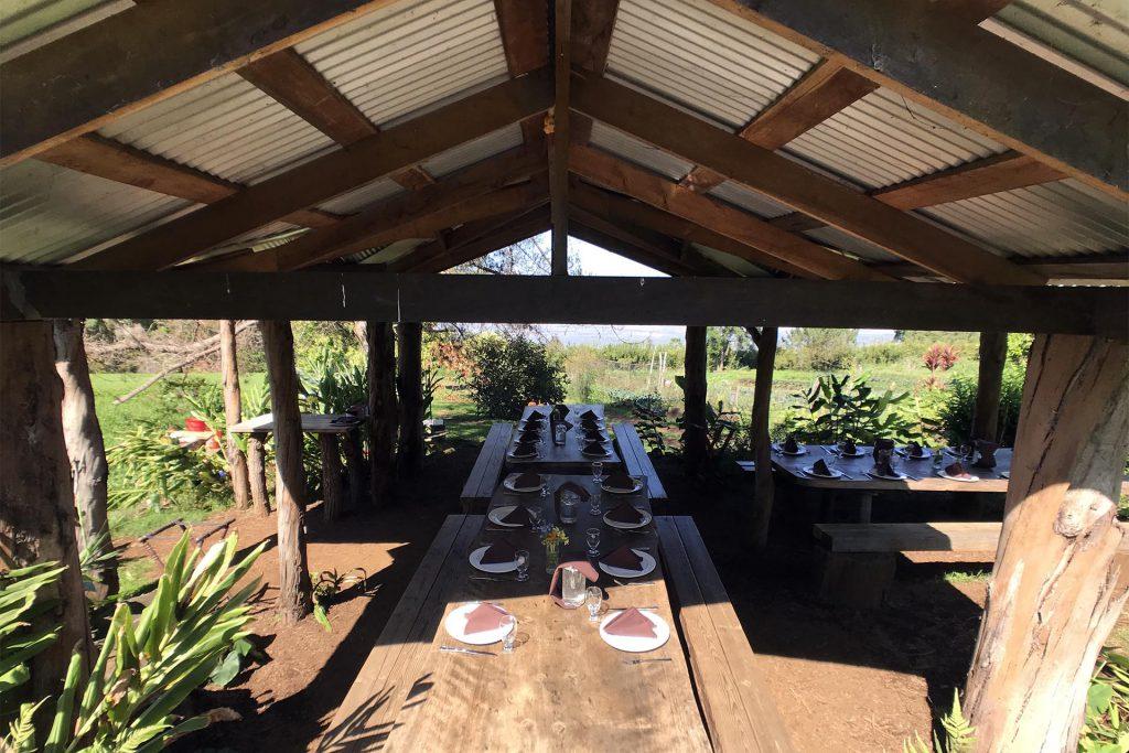 Maui O'o Farm lunch tables