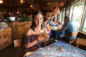 Maui Mamas Fish House Danielle Holding Drink