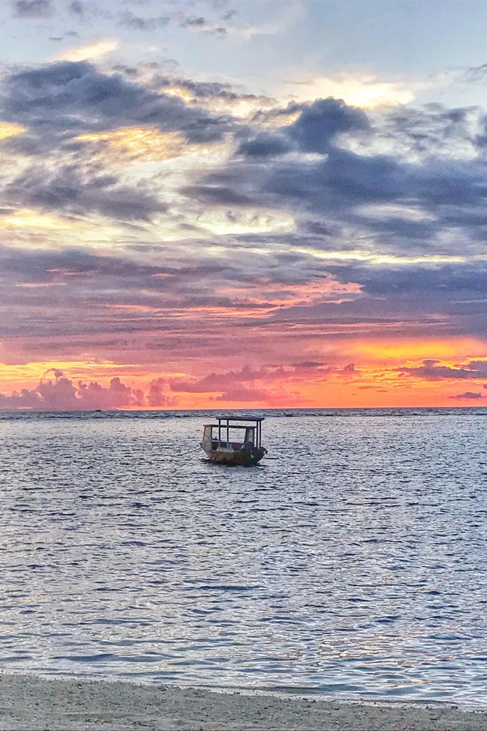Boat at Sunset on Gili Air