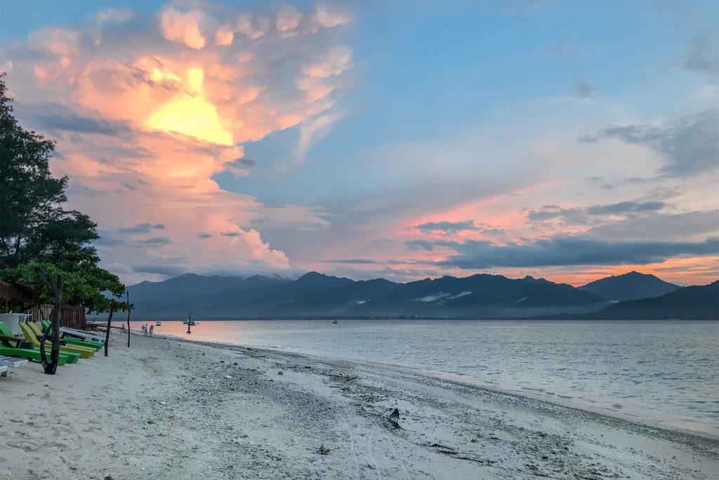 Sunset over Gili Air and Lombok